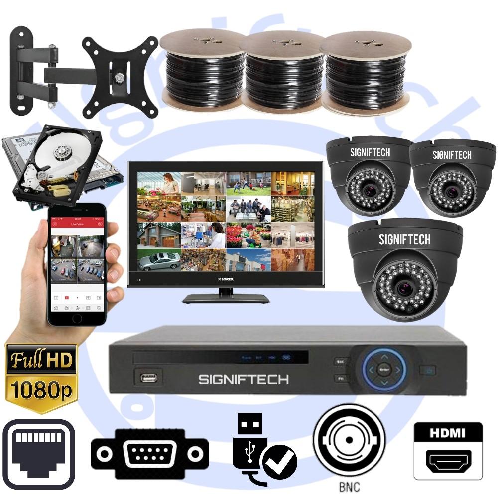 CCTV CAMERAS KIT WITH 1080P 4 CHANNELS DVR & 3 DOME CCTV  CAMERAS