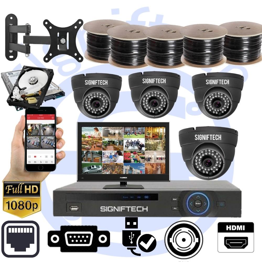 CCTV CAMERAS KIT WITH 1080P 4 CHANNELS DVR & 4 DOME CCTV CAMERAS