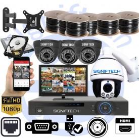 CCTV CAMERAS KIT 4 CHANNELS 1080P HD DVR & 3 DOME CCTV CAMERAS & 1080P 1 MOVING ZOOM CAMERA