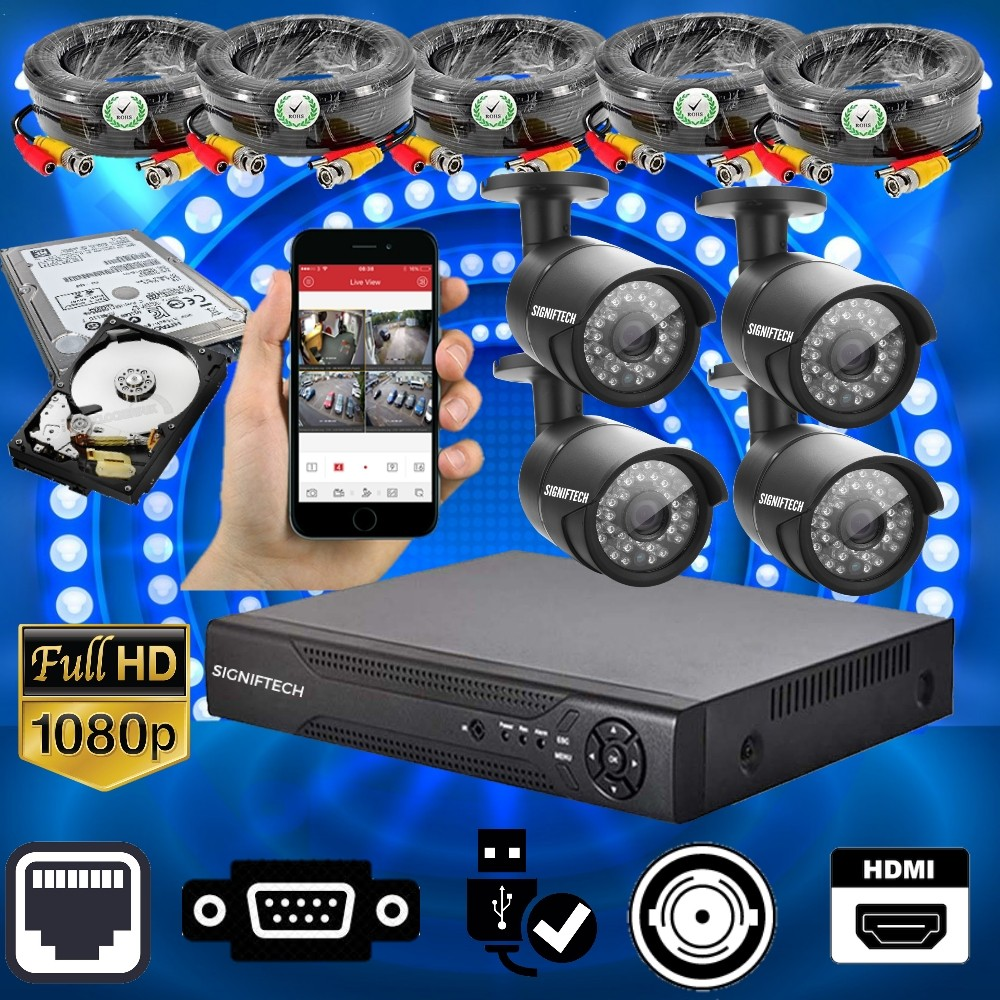 CCTV CAMERAS KIT WITH 1080P 4 CHANNELS DVR & 4 CCTV CAMERAS  WITH MOBILE MONITORING