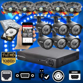 CCTV CAMERAS KIT WITH 1080P 8 CHANNELS DVR & 6 CCTV CAMERAS OUTDOOR